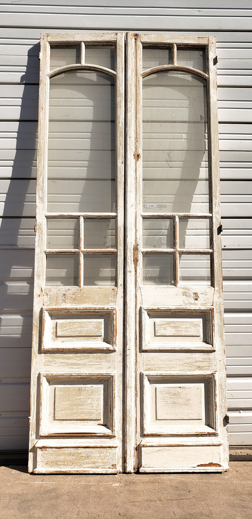 Pair of 2 Panel 7 Lite Washed Wood French Doors