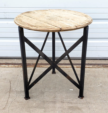 Repurposed Whiskey Barrel Side Table