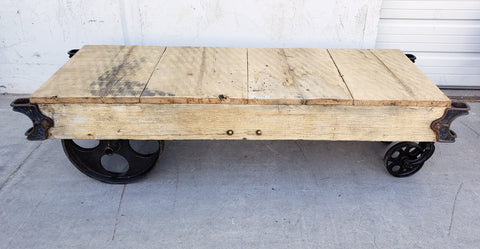 Bleached Railroad Coffee Table Trolley