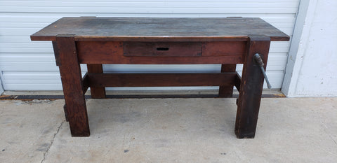 1 Drawer Dark Wood Island Work Bench w. Vise