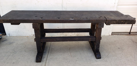 Dark Wood Primitive Island Work Bench