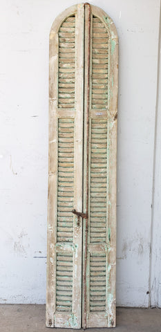 Pair of Natural & Chippy Green Narrow Extended Half-Round Shutters