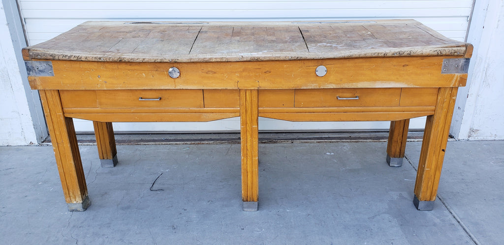 2 Drawer Butcher Block Table