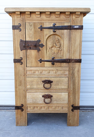 2 Drawer Ornate Carved Wood & Iron Cabinet