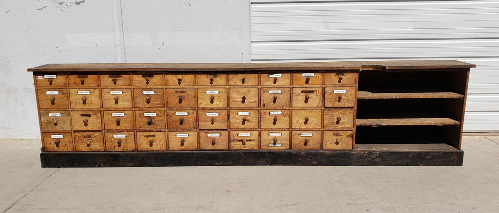 Antique Double Sided German Apothecary Counter