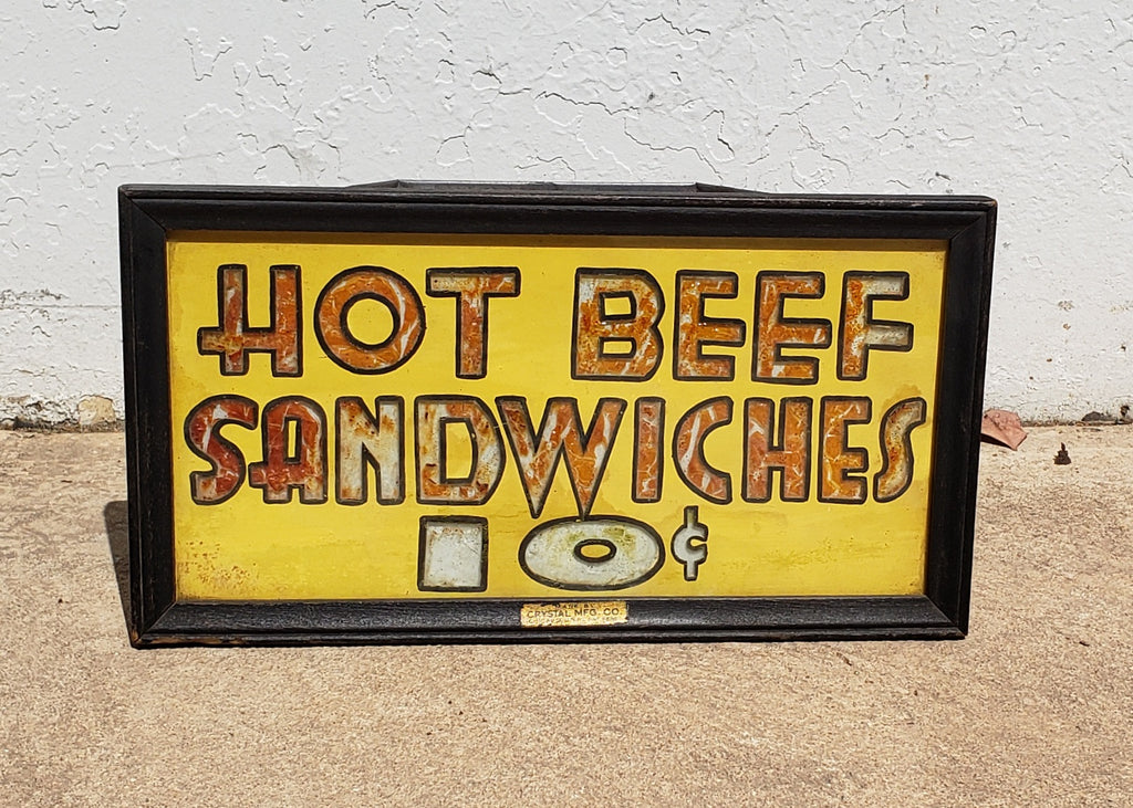 Illuminated Hot Beef Sandwiches Sign