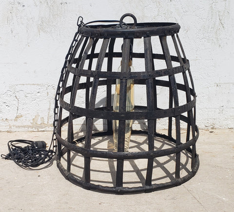 Black Iron Basket Pendant Light