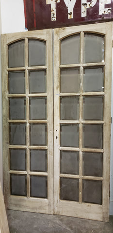Pair of 12 Lite Smoked Glass Antique French Doors