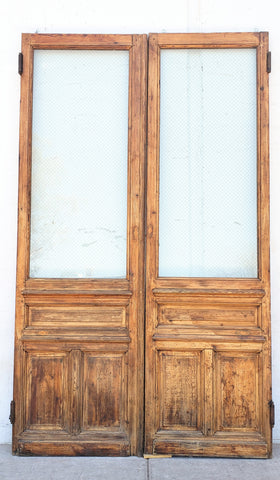 Pair of Large Wood and Single Lite Chickenwire Glass Doors