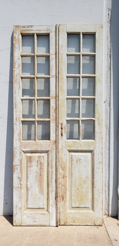 Pair of 10 Lite Washed Wood French Doors