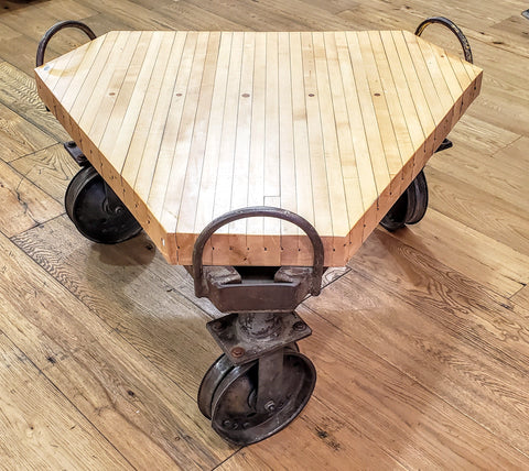 Triangular Table with Bowling Lane Top on 3 wheels