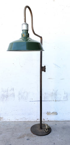 Floor Lamp with Green Porcelain Shade