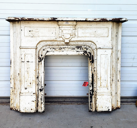Antique White Cast Iron Mantel