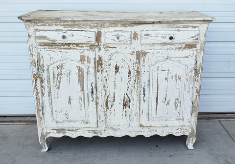Antique 3 Drawer Chippy Paint Wood Sideboard Cabinet