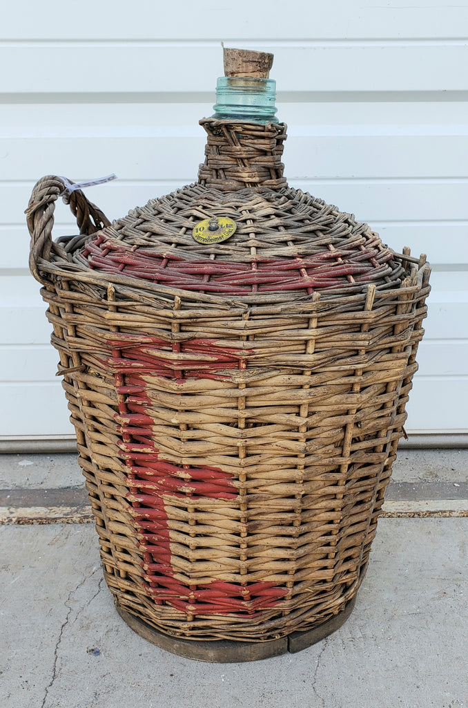 Antique Wine Bottle in Basket