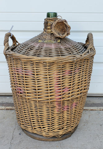 Antique Glass Demijohn Wine Bottle in Wicker Basket