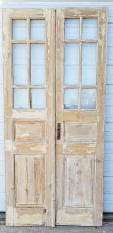 Pair of Antique 12 Lite Washed Wood French Doors