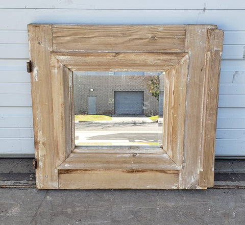 Repurposed Antique Washed Wood Mirror