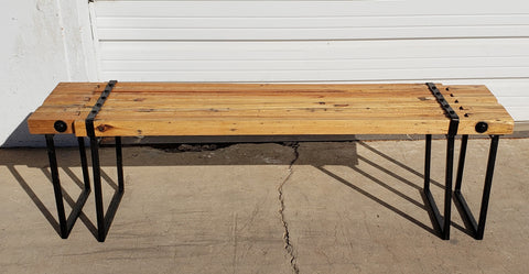 Adjustable Wooden Bench with Iron Legs