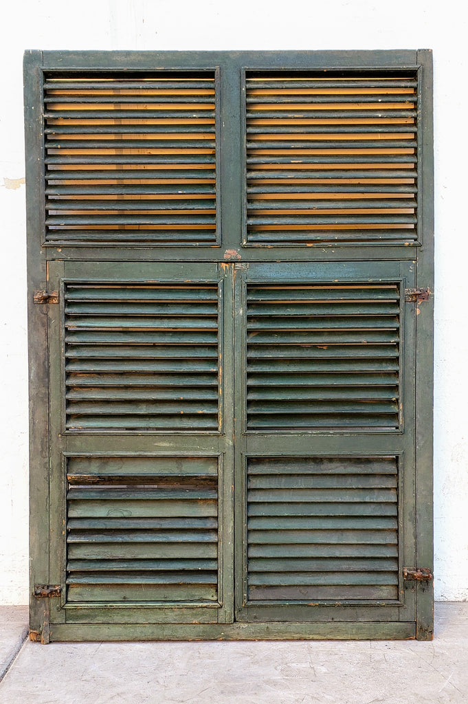 Pair of Antique Green Wood Shutters