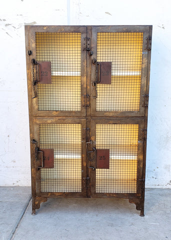 Set of Mesh Front Metal Lockers
