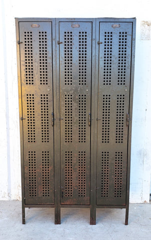 Set of 3 Lockers with Perforated Metal Front