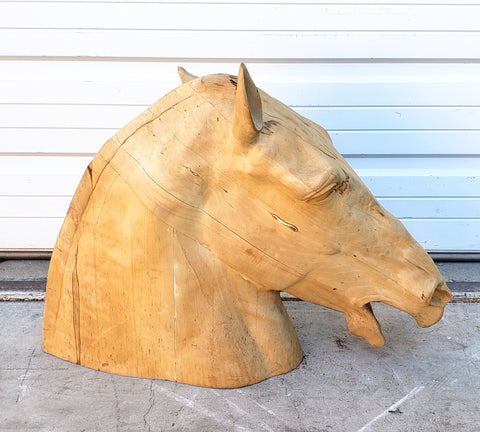 Carved Wood Equestrian Horse Head
