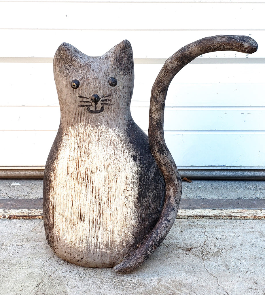 Carved Wooden Folk Art Cat Statue