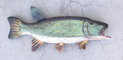 Folk Art Carved Fish with Nail Teeth