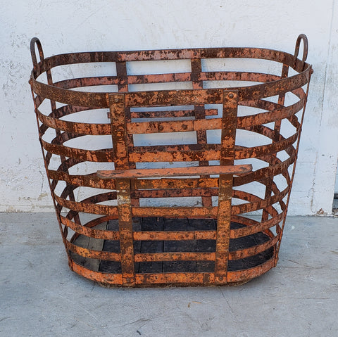 Rusty Metal Slatted Basket