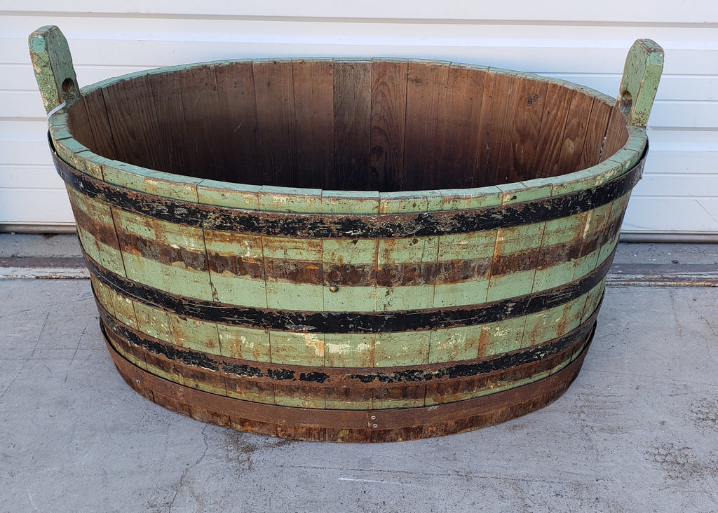 Green Wood French Bucket with Metal Rings
