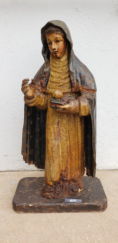 Carved Wooden Virgin Mary Statue