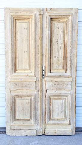 Pair of Antique 2 Panel Wood Doors with Opening Panel