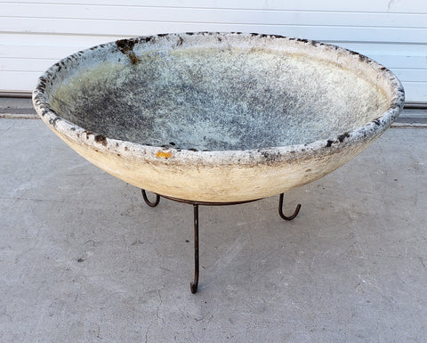 Round Willy Guhl Concrete Bowl Planter on Stand