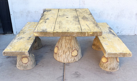 French Faux Bois Garden Table and 2 Benches