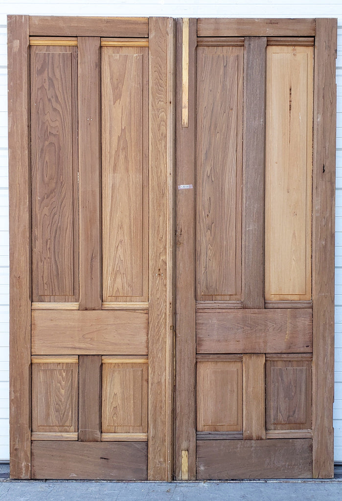 Pair of Antique 4 Panel Solid Wood Doors
