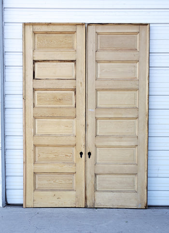 Pair of Large Antique 6 Panel Solid Wood Doors