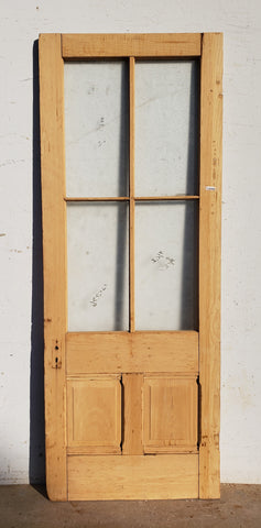 Antique 4 Lite, 2 Pane Single Door with Textured Glass