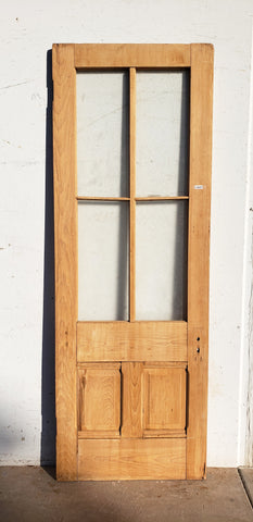 Antique 4 Lite 2 Panel Single Door with Textured Glass