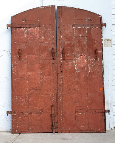 Reclaimed Arched Steel Fire Double Doors