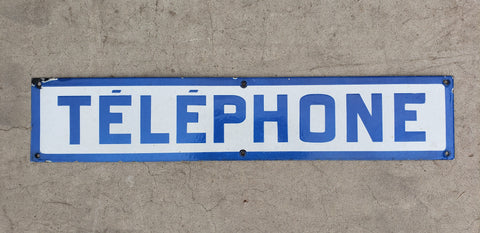 Enamel Telephone Sign from the Paris Metro