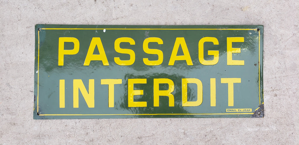 "Enamel ""Passage Interdit"" (No Trespassing) Sign from the Paris Metro"