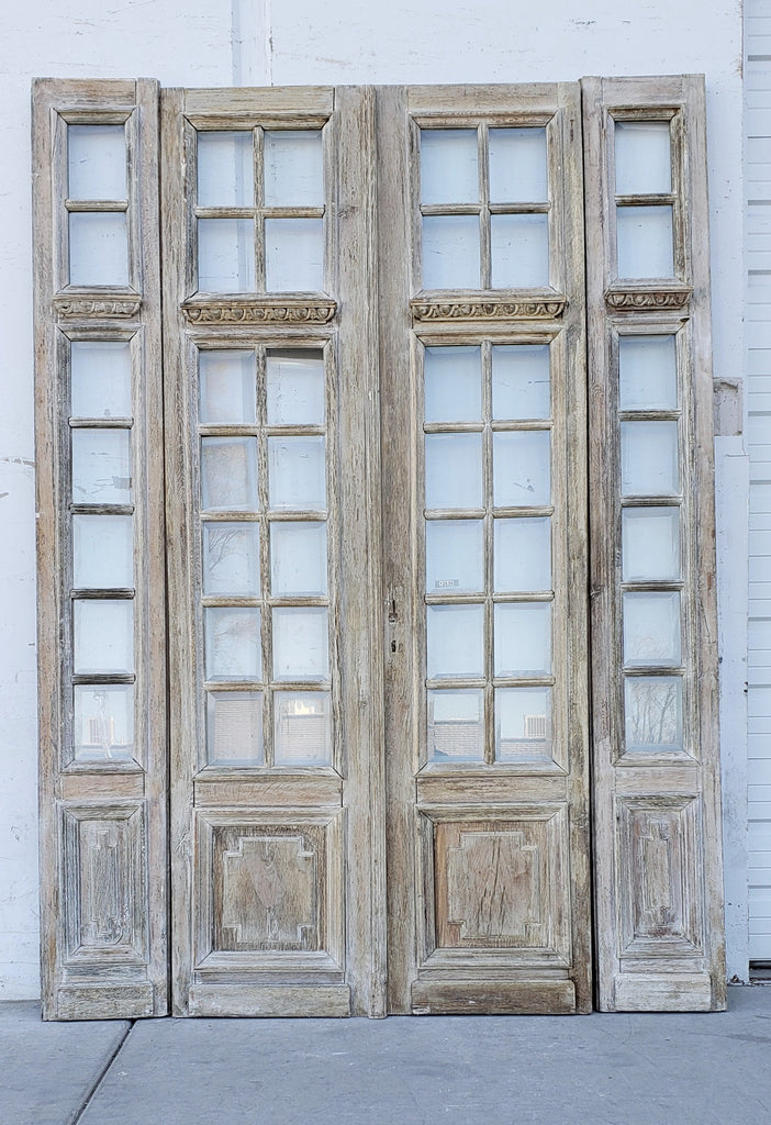 Set of Antique 42 Lite Bi-Folding Washed Wood French Doors w. Cross Panel