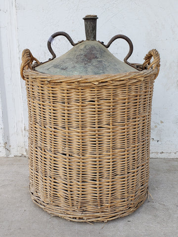 Copper Vessel in Wicker Basket from L'isle sur la Sorgue