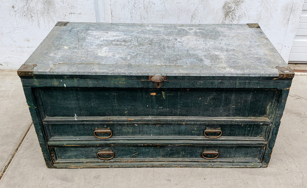 Wooden Tool Chest with 2 Drawers and Galvanized Metal Top