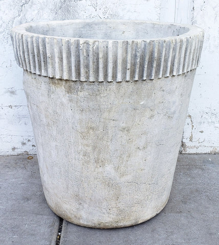 Concrete Planter with Ribbed Top Edge
