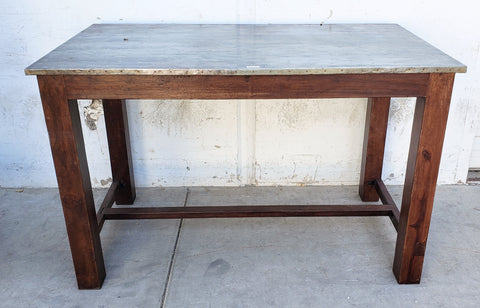 Tall Wood Table with Iron Top