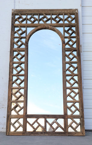 Ornate Framed Mirror with Single Arched Pane