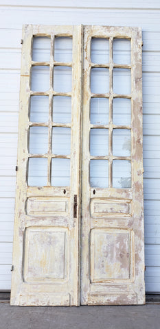 Pair of 10 Lite Washed Wood Doors