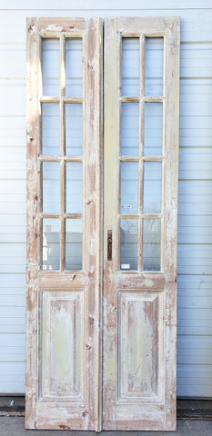 Pair of 8 Lite Washed Wood Doors